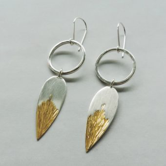 handmade silver and gold mixed metal earrings handmade for women