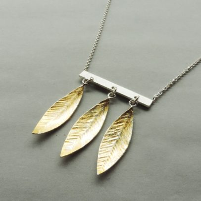handmade silver and gold mixed metal feather necklace for women