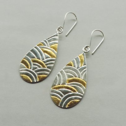 contemporary silver and gold mixed metal earrings designed for women