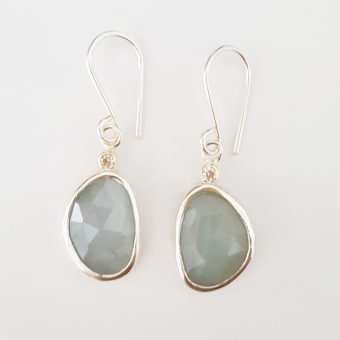 one of a kind aquamarine earrings handmade for women silver and gold jewelry