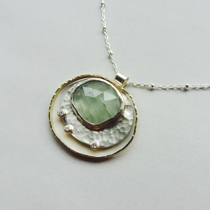 one of a kind aquamarine jewelry riverside necklace for everyday wear in silver and gold