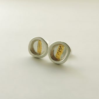 handmade silver gold post earrings organic women
