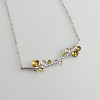 silver gold mixed metal necklace women party bridal