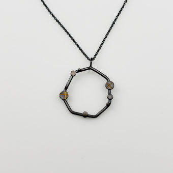 geometric silver gold necklace