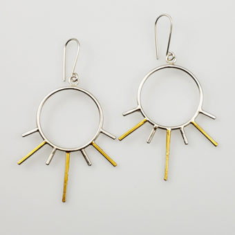 sunburst silver gold earrings handmade women