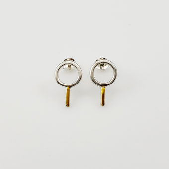 simple mixed metal studs handmade women