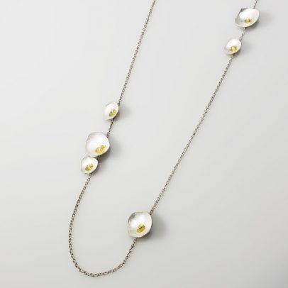 silver gold mixed metal necklace handmade jewelry everyday women