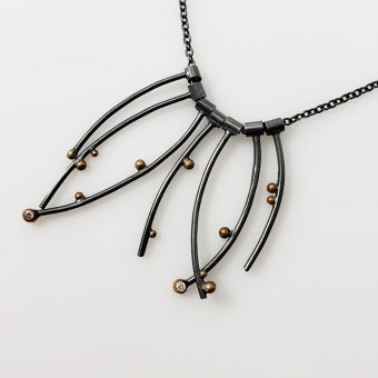 handmade fine jewelry two tone silver gold necklace