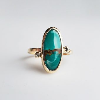 modern royston turquoise ring with diamond accents