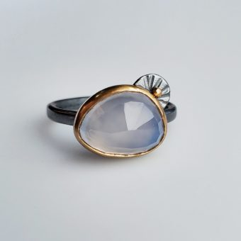 handmade chalcedony modern mixed metal ring by Bend Oregon jewelry designer McKenzie Mendel