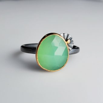 handmade chrysoprase modern mixed metal ring by Bend Oregon jewelry designer McKenzie Mendel