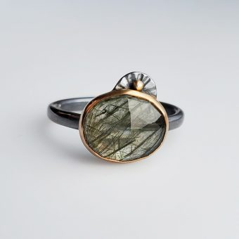 rutilated quartz mixed metal modern handmade ring