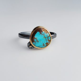 sierra nevada turquoise mixed metal modern handmade ring