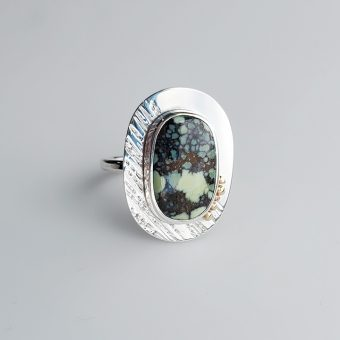 poseidon variscite modern ring in silver and gold by McKenzie Mendel at her Bend Oregon jewelry store