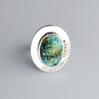 seafoam senoran gold turquoise modern ring in silver and gold by McKenzie Mendel at her Bend Oregon jewelry store
