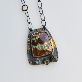 Kingman turquoise and tourmaline necklace inspired by the high desert handmade by jewelry designer McKenzie Mendel