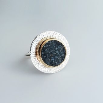 Druzy ring with gold and silver